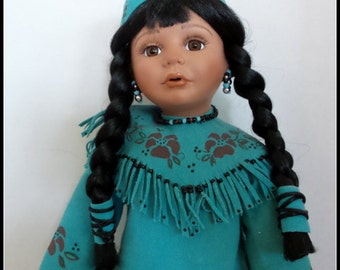 Vintage American Indian Porcelain Doll