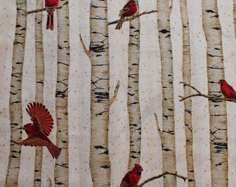 Cotton Woodsy Winter Cardinals Red Birds on Birch Trees Metallic Cotton Fabric Print by the Yard (L7325-20G-NATURAL-GOLD) D776.34