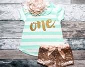 First Birthday Shirt Baby Girl Birthday Party Cake Smash Outfit 1st Birthday Shirt Gold One Shirt Girl First Birthday #98