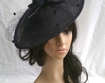 Navy Blue Net & quill Fascinator..Stunning shaped Fascinator on a Headband..