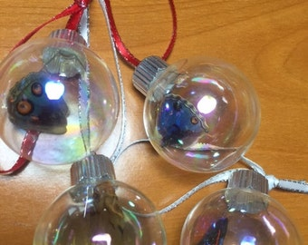 Christmas Ornaments - 4 Mini Glass globes with real Butterfly Wings