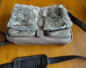 Next brand, like new, medium taupe shoulder bag with faux fur  9X12