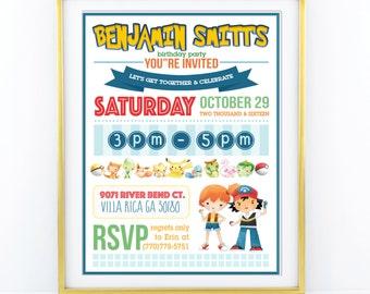 "INVITATION - Pokemon Theme Birthday Invitation Boys party - personalised 5x7"" - Modern, Contemporary - Printable, Digital"