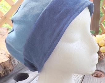 Beautiful Blues 100% Linen Two Toned Snood Cap Head Cover