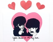 Funny Anniversary Card - Your Kiss Is On My List - You make my dreams come true - Hall and Oates card - Boyfriend Card - I love you card
