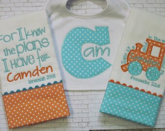 SUPER SHOWER GIFT - Personalized Baby Boy Burp Cloths and Bib Set