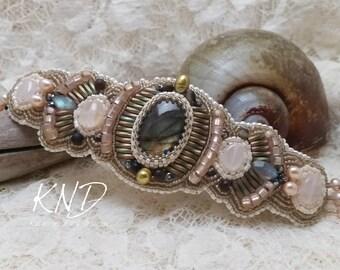 Labradorite, rose quartz, hematite and pearl bead embroidery bracelet.