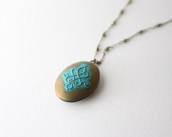 Patina locket necklace - Long locket necklace