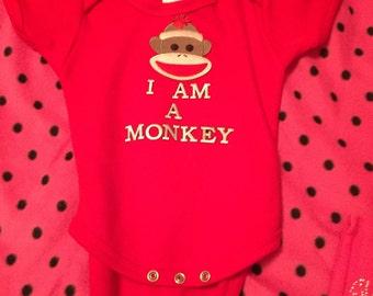 I am a monkey baby boy onesie