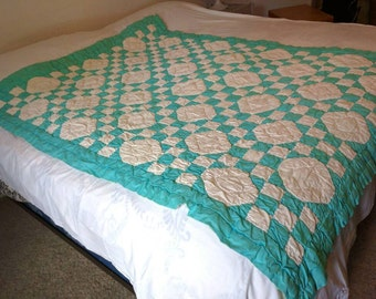 Vintage Green and White Twin Quilt