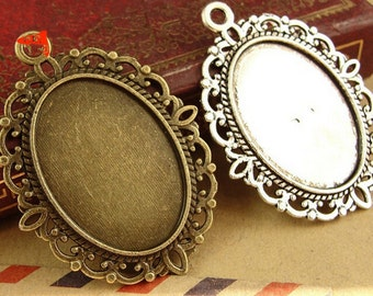 10pcs Antique Bronze and silver Oval 18x25mm Cabochon Setting Alloy Pendant Trays Blanks