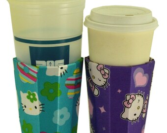 Beverage Insulator #HelloKitty Satin PocketHuggie-Cold/Hot Drinks,Soda,Coffee,Red Solo Cup,Beer-Reusable,Folds,3 SIZES:Cup, Can, Beer Bottle