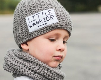 Little Warrior Hat and infinity Scarf/ Boys winter hat/ Little Warrior hat/ Little Warrior gift/ Gray infinity scarf/ Boys hat/