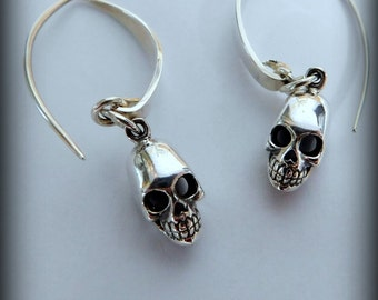 Swarovski sterling silver skull earrings, wedding jewelry,  Gothic earrings, Gothic jewelry, skull head, Halloween jewelry