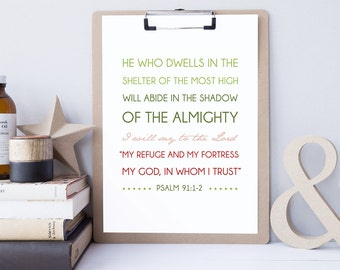 Psalm 91:1-2 - Bible Verse Art - Scripture Print - Bible Verse Typography - Psalm Art