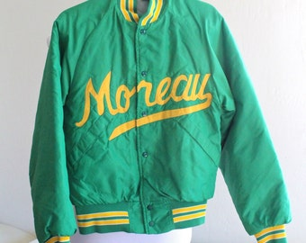 Vintage Green and Yellow Team School Quilted Baseball Jacket Small / Medium