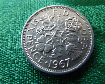 1967 Sixpence Coin From Great Britain Good Luck Charm, Wedding Sixpence, Birth Year Six Pence, 6d - Priced Per Coin