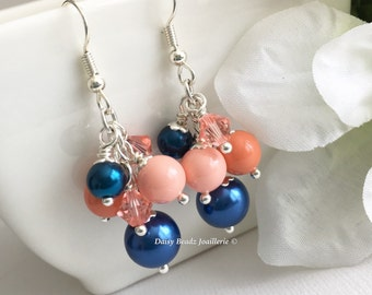 Shades of Coral and Navy Earrings, Coral Earrings, Pearl Cluster Earrings, Coral Navy Earrings, Bridesmaid Earrings, Coral Wedding 2017