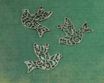 Silver Filigree Festive Flying Dove Bird Charm Pendants - Package of 3