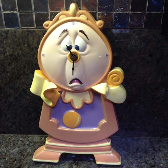 Rare Disney Schmid Cogsworth Wall Clock Plaque By