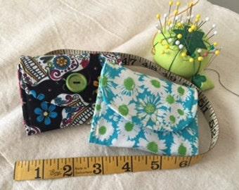 wallet, ID holder, card holder, coin purse, black, green, blue, red, plaid, animal, ladybug, flowers