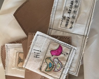 """cards, greeting cards, fabric greeting cards, shabby little greeting """"cards"""" - a bundle of 3"""