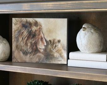 For him gift for dad Safari Nursery Art Prints nursery prints boy baby animal nursery art lion painting LARGE CANVAS zoo children watercolor
