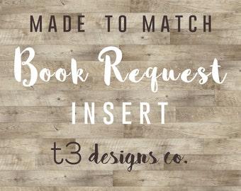 Coordinating Book Request Insert