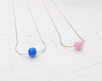Opal necklace,opal ball necklace,opal necklace silver,blue opal jewelry,opal necklace sterling silver,opal bead necklace,dot necklace-20098