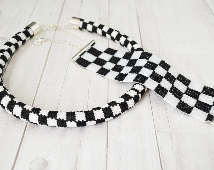 Checkerboard Necklace black and white Crochet hook tube necklace Seed beads Rope crochet Gift womens girls Grille necklace