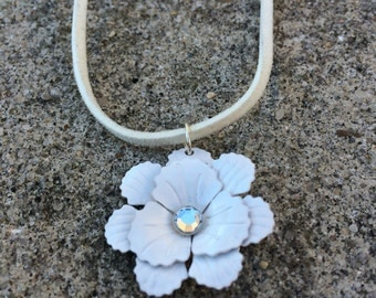 White Flower Necklace, Petite White Metal Flower Pendant With Rhinestone Center on White Faux Suede Necklace, Flower Jewelry, Boho Chic
