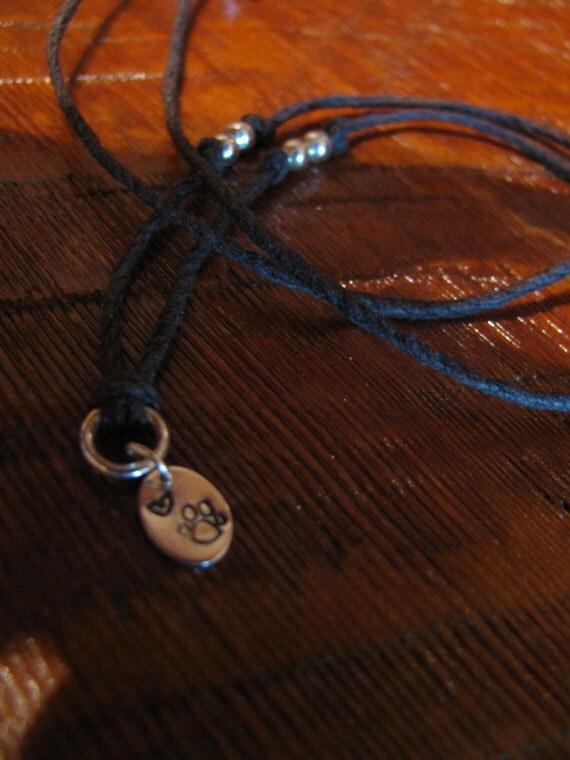 Sterling Silver and Natural Hemp Pendant Necklace Dog Paw Print Handmade- Toniraecreations