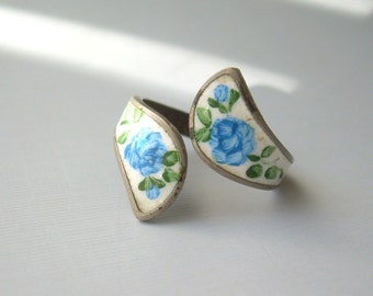 """Flower Wrap Adjustable Ring-Vintage Sterling Silver-Blue Green Cabbage Rose Enamel-Designer """"AR within B""""-Bypass Bi Pass Womens Jewelry"""