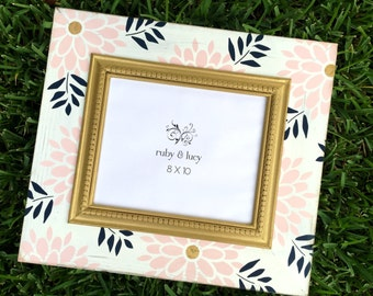 modern floral distressed 8x10 picture frame | pink & gold | baby girl nursery | wall art decor | teen or tween room | shower gift new mom