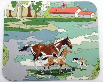 Horses Paint by Number Mouse Pad / Computer / Office Decor / Coworker Gift / Home Decor / Barn / Mac Book / Office Supplies / Desk / Farm