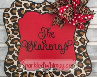 Welcome Door Hanger: Leopard Print Name Sign - valentines door hanger - February - wooden door decoration