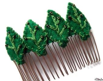 Felt Hair Comb Slide, Green Leaves, Hair Comb Grip, Beaded Hair Grip, Leaf Hair Slide, Felt Leaf Grip, Wedding Hair, Beaded Hair Comb,