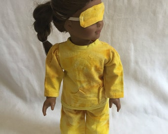 Doll Clothes - Pajamas with Sleeping Mask for the American Girl Doll - 18 Inch Doll PJ's - Yellow - Tye-Dye