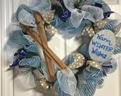 Skiers delightful Warm Winter Wishes deco mesh wreath