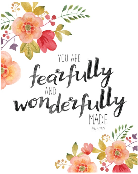 Fearfully and Wonderfully Made - Psalm 139 - Printable, Nursery Art