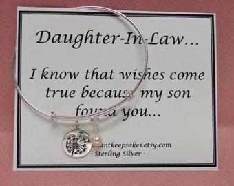 Daughter In Law Gift Idea Wishes Come True Sterling Silver Dandelion Bangle Bracelet