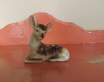 Vintage deer figurine, ceramic, made in Japan, 1950's-60's