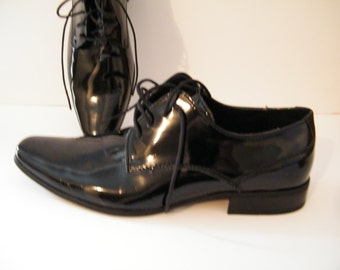 Calvin Klein Mens Black Oxford Shoes Size 9.5 Medium, Vintage lace up like new, Brodie Vintage Mens Dress Shoes -