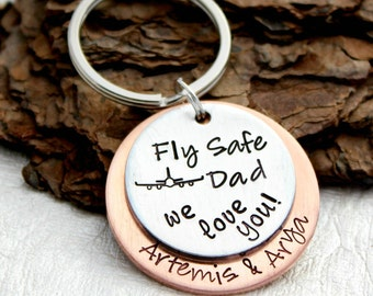 Fly Safe Pilot Keychain - Flight Attendant Gift - Personalized Travel Keychain - Fly Safe Gift - Business Trip Gift - Travel Safe Gift