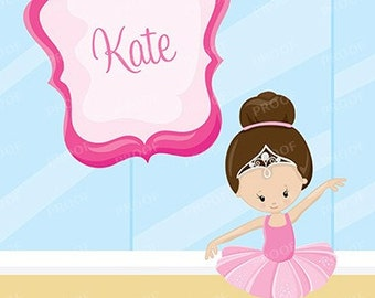 Ballerina Girl Ballet Brown Hair Personalized Notebook Steno Pad or Notepad Journal Back to School Notebook