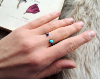 Lapis Lazuli and Turquoise dual ring, gemstone ring, sterling Silver ring, stacking ring, bohemian jewelry BY  MARIAELA