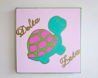 hand painted Delta Zeta mascot 12x12 canvas OFFICIAL LICENSED PRODUCT