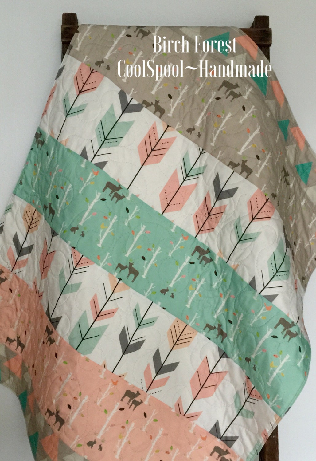 Baby Quilt Girl Woodland Birch Deer Forest Birch Trees