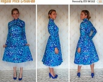 SEXY 50% OFF SALE Vintage Teal & Lavender  Floral Print Dress  size 8/10