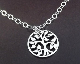 SUMMER SALE Sterling Silver Necklace - Tree of Life Circle Pendant